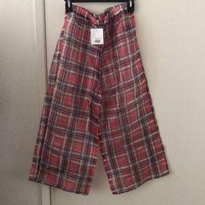 Plaid see-through pants